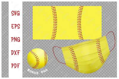 SVG Softball ball background design for protective face mask.