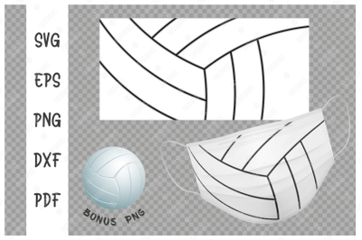 SVG Volleyball ball background design for face mask.
