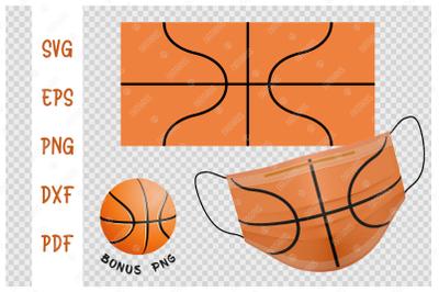SVG Basketball ball background design for face mask.