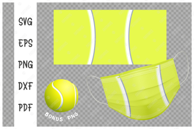 SVG Tennis ball background design for face mask.