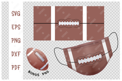 SVG American Football ball background design for face mask.
