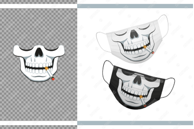 Funny skull design with Cigarette for protective face mask.