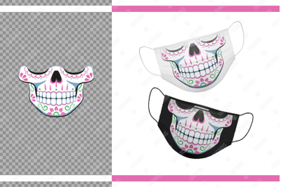 Funny Sugar skull design with floral pattern for face mask.