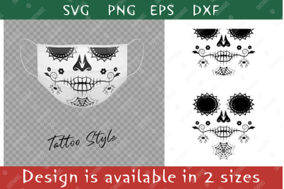 Elegant Sugar skull with a spider pattern for face mask.