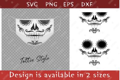 Elegant Sugar skull design with tribal pattern for face mask