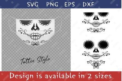 Elegant Sugar skull design with floral pattern for face mask.