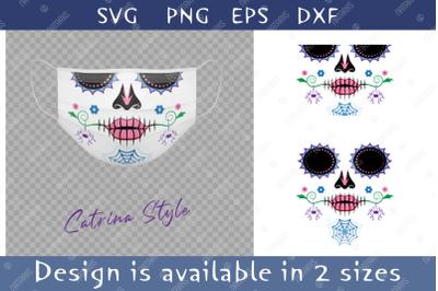Elegant Sugar skull with colorful spider pattern.