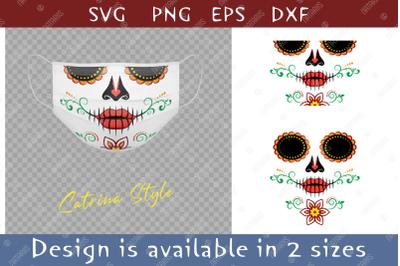 Elegant Sugar skull design with colorful floral pattern.