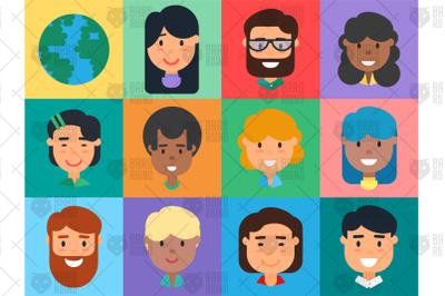 Diverse People Avatars Set