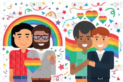 Happy Homosexual Couples Illustration