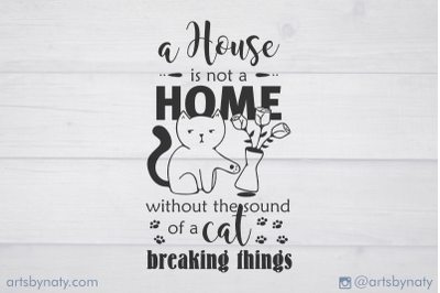 Cute funny cat and home quote illustration.