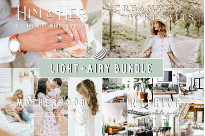 LIGHT + AIRY BUNDLE - Natural Clean Bright Lightroom Presets for Deskt
