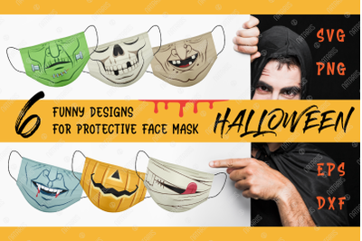 SVG Bundle. 6 Funny Halloween designs for face mask.
