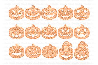 Pumpkin Mandala SVG, Jack o' Lanterns Mandala SVG, Halloween Pumpkins