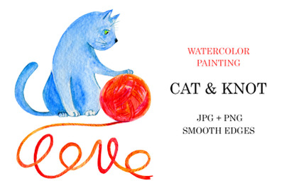 Watercolor Cat and Knot illustration + word LOVE
