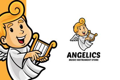 Angel Music Instrument Store Logo Template