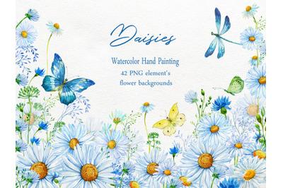 Daisy  Clipart, Chamomiles Watercolor