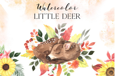 Watercolor Baby Deer and fall florals clipart
