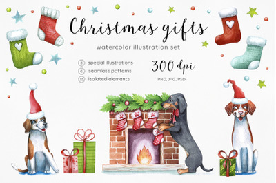 Watercolor christmas illustrations. Dogs Christmas. Gifts