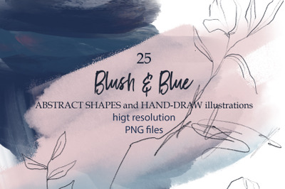 Blush &blue abstract shapes and plants