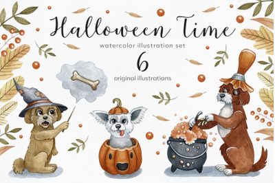 Watercolor set halloween dogss. 6 exclusive illustrations