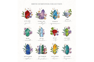 Hand Painted Birthstones Gems Illustration Collection. Astrology set.