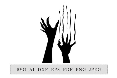 Zombie hands Silhouette. Halloween Party decoration.
