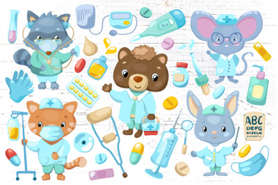 Cute Animals Doctor Characters Vector Clipart