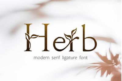 Herb - floral serif ligature font