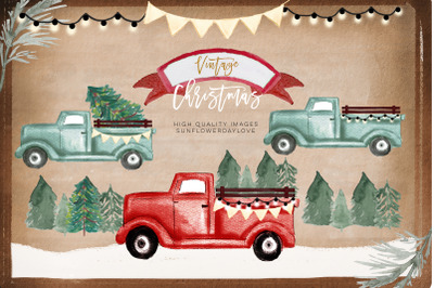 Red Truck PNG clipart, vintage christmas watercolor