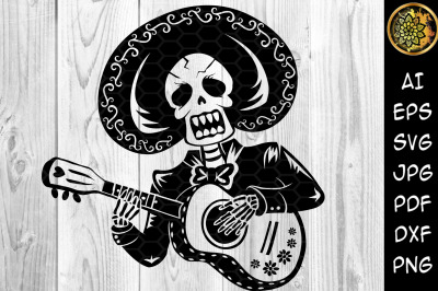 Halloween Skeleton Playing Guitar SVG