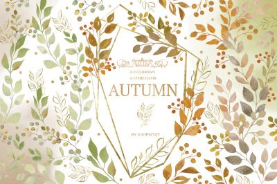Hand Drawn Watercolor Autumn leaves