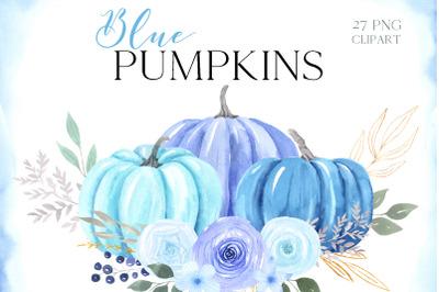 Watercolor Blue Pumpkin Clipart