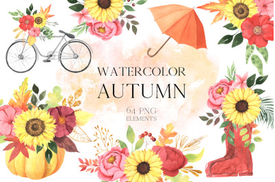 Watercolor Fall Floral Clipart