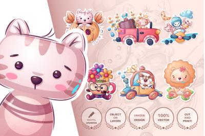 set cute animal and pattern