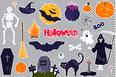 Big set of stickers for Halloween