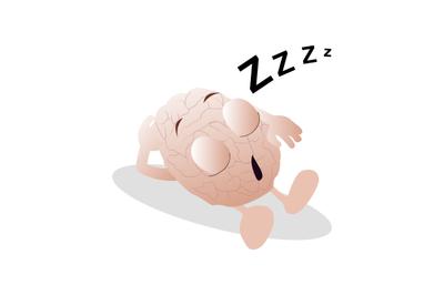 Character mascot brain sleeping rest