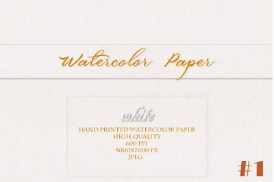 White Watercolor hand printed Paper #1