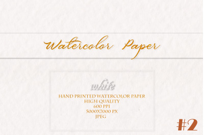 White Watercolor hand printed Paper #2