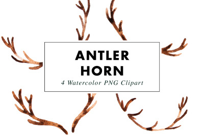 Antler Horn Watercolor Illustrations | Clipart PNG