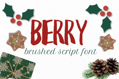 Berry brush handwriting font. Brush textured