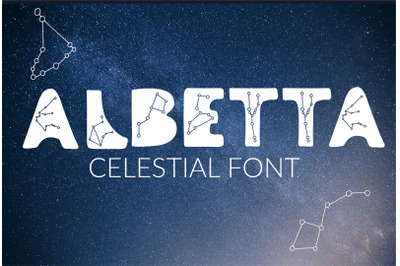 Albetta. Celestial Display accidental font Font with stars constellati