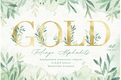 Gold & Green Leaves Alphabets Clip Arts