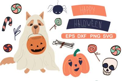 Halloween clipart set, Halloween paper
