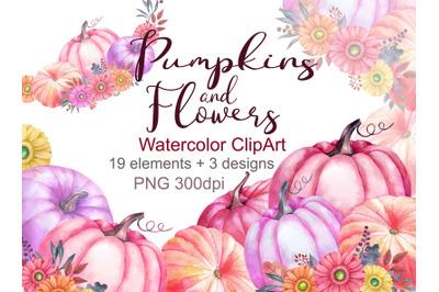 Watercolor pumpkin clipart thanksgiving day clip art flowers pink