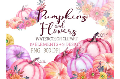 Watercolor pumpkin clipart thanksgiving day clip art flowers pink