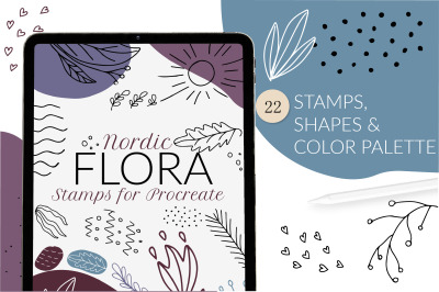 Nordic scandinavian floral Procreate stamps set
