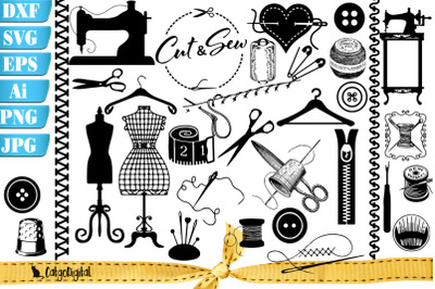Sewing Silhouettes Clipart - Crafters