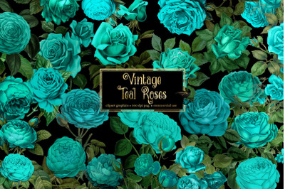 Vintage Teal Roses Clipart