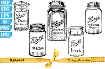 Vintage Ball Mason Jar Illustrations